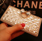 Bling Crystal Diamonds Rhinestone PU leather wallet flip stand Case cover skin i