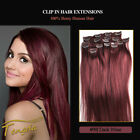 #99J Wine Red Clip In Full Head Hair Extension 100% Human hair 16''-30''
