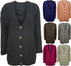 NEW LADIES CHUNKY CABLE KNITTED LONG SLEEVE BOYFRIEND COAT CARDIGAN SIZE 6-12