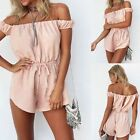 UK Sexy Womens Off Shoulder Playsuit Party Jumpsuit Short Romper Size 6-14 TY