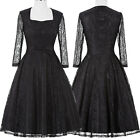 Vintage Style 50s Black Pinup Dress 3/4 Lace Sleeve Gown Retro Swing Dress S-XL