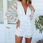Sexy Women Lace Playsuit Party Evening Ladies Long Sleeve V-Neck Jumpsuit Shorts
