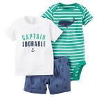 "Carter's Boys 3 Piece White ""Captain Adorable"" Short Sleeve Top, Green Striped B"