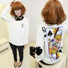 Fashion Women Poker Pattern Sweatshirt Long Sleeve Casual Shirt Blouse Tops - LD