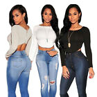 Womens Sexy Long Sleeve Crop O-neck Back Zipper Crop Blouse Tops
