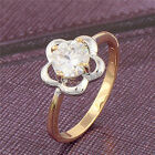Women's Two-Tone Gold Plated White CZ Promise Love Band Ring Size: 6,7,8