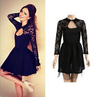 Sexy Women's Long Sleeve Lace Bodycon Cocktail Evening Mini Dress