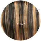 7pcs set Black Blonde Mixed 1B/27 Clip In Full Head Remy Human Hair Extension