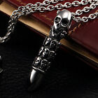 AgentX Mens Stainless Jewelry Necklace Skull / Hollow Out Soldier Bullet Pendant