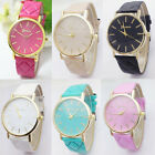 Leather Womens Fashion Retro Watches Casual Plaid Bracelet Wristwatch