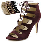 Ollio Womens Shoes Lace-ups Gladiators High Heels Booties