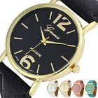 FASHION GENEVA ANALOGUE QUARTZ WATCH WITH FAUX LEATHER STRAP MENS WOMENS LADIES
