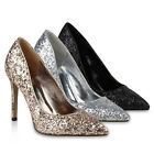Spitze Damen Glitzer Pumps Metallic Stilettos Party Schuhe 811188