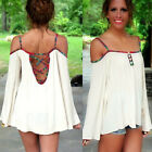 Women Sexy Backless Off Shoulder Summer Blouse Tops Long Sleeve Casual T-shirt