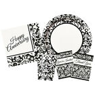 BLACK DAMASK Party Range (Birthday/Anniversary/Napkins/Plates/Monochrome/White)