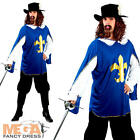 Blue Musketeer Mens Medieval Fancy Dress Book Story Book Day Adult Costume New
