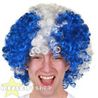 FOOTBALL SUPPORTERS BLUE WITH WHITE CROSS AFRO WIG NOVELTY HAIR FOR SPORTS EVENT