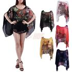 Women's Caftan Chiffon Blouse Floral Printed Tunic Top Casual Summer Shirt