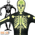 Glowing Skeleton Mens Fancy Dress Halloween Day of the Dead Adult Costume Outfit