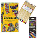Adult Anti Stress Therapy Colouring Book 12 Fineliners 16 Professional Pencils