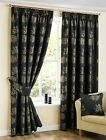 ARDEN FLORAL JACQUARD TAPE TOP CURTAINS PENCIL PLEAT PAIRS JET BLACK GOLD