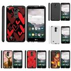 For LG Stylus 2 | Stylo 2| Slim Fit Hard Case + Image Decal Black Red Hearts
