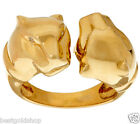 Technibond Diamond Accent Double Panther Head Ring 14K Yellow Gold Clad Silver