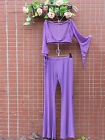 belly dance costume mesh outfit top pants set purple or white