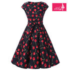 Women's Black Cherry Print Vintage Cap Sleeves 50s Rockabilly Swing Dress