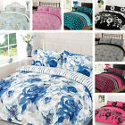 Duvet Cover Bedding Set Single Double King Super Size Pink Blue Black White Grey