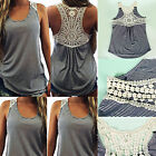 New Women Summer Lace Vest Top Sleeveless Casual Tank Blouse T-Shirt UK 6-16