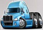 Freightliner Cascadia Semi Truck Cartoon T-Shirt #9544 cartoontees big rig