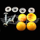 YELLOW DOME NUMBER PLATE KIT, DOME CAP, BASE, SELF TAPPING SCREWS CAR VAN BIKE