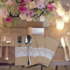 10/50pcs New Hessian Burlap Lace Wedding Cutlery Holder Pouch Rustic Decorations
