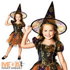 Elegant Witch Girl's Halloween Party Fancy Dress Kids Child Costume Outfit + Hat