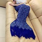 1x Navy Blue Blankets&Throws Crocheted Mermaid Tail Knitting With Sparket Scales