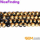 Natural Black Agate Onyx Carved Buddhist Mala Stone Beads For Jewelry Making 15""