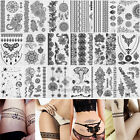 Hot Sexy Black Henna Lace Temporary Tattoo Metallic Inspired Sticker Body Art