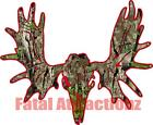 Red Camo Moose Skull Vinyl Decal Sticker hunting bow bull cow