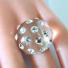 New Clear Acrylic Domed Ring Sparkling Clear Swarovski Elements Crystal On Dome