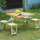 Portable Folding Camping Picnic Table Party Outdoor Garden Chair Stools Set