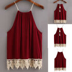 Summer Women Shirt Sleeveless Cotton Blend Blouse Lace Tank Tops T shirt Vest