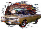 1969 Gold Plymouth Road Runner Custom Hot Rod Diner T-Shirt 69, Muscle Car Tee's