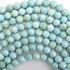 "Cream Blue Turquoise Round Beads Gemstone 16"" Strand 4mm 6mm 8mm 10mm 12mm"