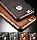 Luxury Leather Back Aluminum Metal Bumper Case Cover For Iphone Se 5s 6 6s Plus