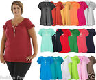 Womens Ladies Gypsy Chain Top Ladies Plus Size Short Sleeve Tunic Top UK 12-24**