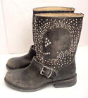 NEW Authentic Frye Jenna SKULL Studded Leather Short Boot Black Women Sz 6B $598