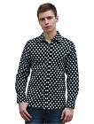 Men Polka Dots Long Sleeve Button Down Classic Fitted Shirt