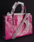 NWT Authentic MICHAEL KORS Dillon Fuschia Croc Leather EW Satchel $348