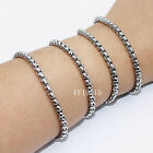 2/3/4/5/6mm Mens Chain Round Box Link Silver Tone Stainless Steel Bracelet HOT